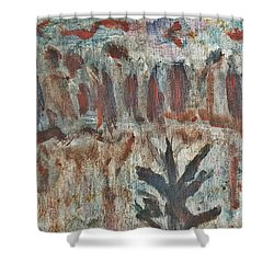 Tree Facing Frozen Lake With Roiling Storm Clouds Rolling In From The Mountain Range Winter With Fal Shower Curtain by MendyZ