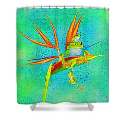 Tree Frog On Birds Of Paradise Square Shower Curtain
