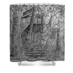 Tree House #1 Shower Curtain by Jim Hubbard