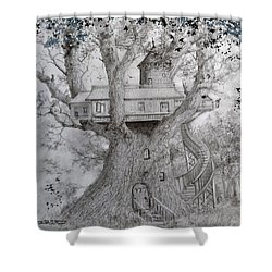 Tree House #2 Shower Curtain by Jim Hubbard