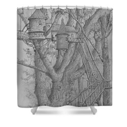 Tree House #3 Shower Curtain by Jim Hubbard