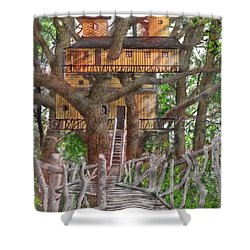 Shower Curtain featuring the drawing Tree House #6 by Jim Hubbard