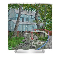 Shower Curtain featuring the drawing Tree House Digital Version by Jim Hubbard