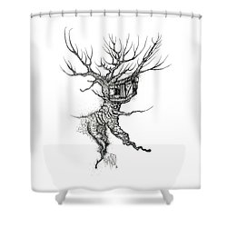 Treehouse Drawing Shower Curtain