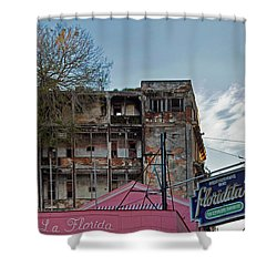 Shower Curtain featuring the photograph Tree In Building Over La Floridita Havana Cuba by Charles Harden