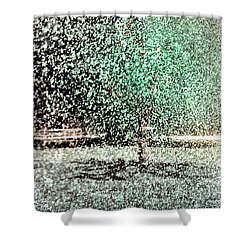 Shower Curtain featuring the photograph Tree In Sprinkler - Painted by Dave Beckerman
