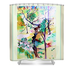 Shower Curtain featuring the painting Tree Lovers by Mindy Newman