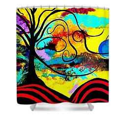 Tree Of Life Abstract Painting  Shower Curtain