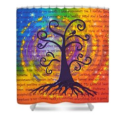 Tree Of Life And Positive Affirmations Shower Curtain