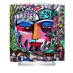 Tree Of Life Face Shower Curtain by Sandra Silberzweig