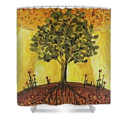 Shower Curtain featuring the painting Tree Of Life by Maria Langgle