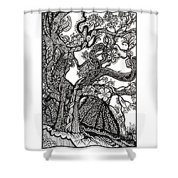 Tree On A Hillside Shower Curtain