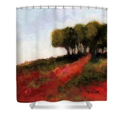 Trees On The Hill Shower Curtain by Marti Green