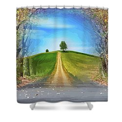 Tree On The Hill Montage Shower Curtain
