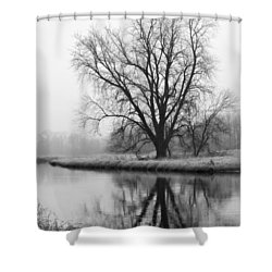 Tree Reflection In The Fox River On A Foggy Day Shower Curtain