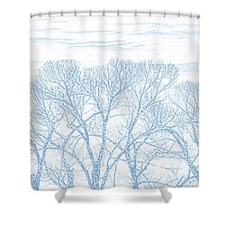Shower Curtain featuring the photograph Tree Silhouette Blue by Jennie Marie Schell
