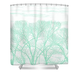 Shower Curtain featuring the photograph Tree Silhouette Teal by Jennie Marie Schell