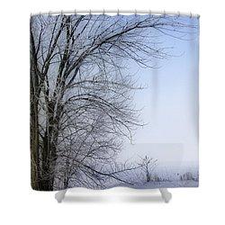 Tree-snow-fog Shower Curtain by Deborah Benoit