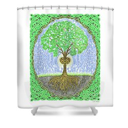 Tree With Heart And Sun Shower Curtain by Lise Winne