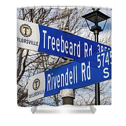 Treebeard And Rivendell Street Signs Shower Curtain by Gary Whitton