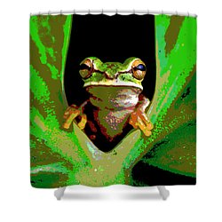 Shower Curtain featuring the mixed media Treefrog by Charles Shoup