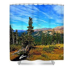 Treeline Shower Curtain by Karen Shackles