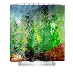 Shower Curtain featuring the painting Trees 4 by John Krakora