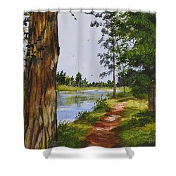 Trees Along The River Shower Curtain