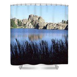 Trees Around The Lake, Sylvan Lake Shower Curtain by Panoramic Images