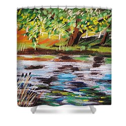 Trees Edge The Pond Shower Curtain by John Williams