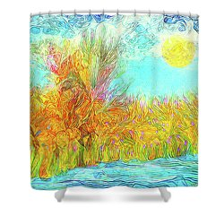 Shower Curtain featuring the digital art Trees Flow With Sky - Boulder County Colorado by Joel Bruce Wallach