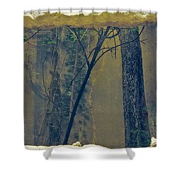 Trees Growing In Silo - Anitque Yellow Edition Shower Curtain