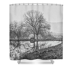 Trees In Fog Kennebunk Maine Shower Curtain