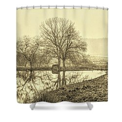 Trees In Fog Kennebunk Maine Sepia  Shower Curtain