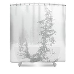 Trees In Fog Monochrome Shower Curtain