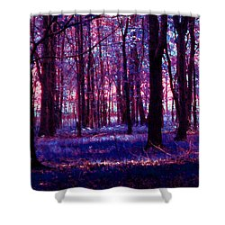 Shower Curtain featuring the photograph Trees In The Woods In Pink And Blue by Michelle Audas