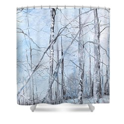Trees In Winter Snow Shower Curtain by Robin Miller-Bookhout