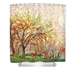 Shower Curtain featuring the digital art Trees In Winter Under Full Moon At Dusk by Joel Bruce Wallach
