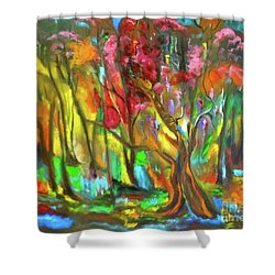 Trees Shower Curtain by Jenny Lee