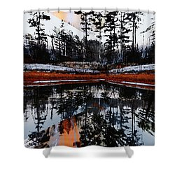 Trees Reflections Fall Evening Shower Curtain by Elaine Hunter