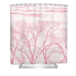 Shower Curtain featuring the photograph Trees Silhouette Pink by Jennie Marie Schell