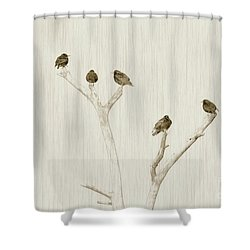 Treetop Starlings Shower Curtain by Benanne Stiens