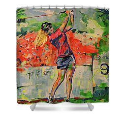 Treibschlag Vom 9 Tee  Drive From The 9th Tee Shower Curtain by Koro Arandia