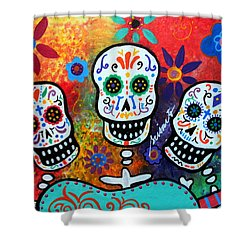 Tres Amigos Guitar Shower Curtain