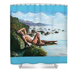 Trevor On The Beach Shower Curtain