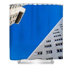 Shower Curtain featuring the photograph Triangle Modern Building by John Williams