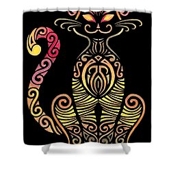 Tribal Cat Shower Curtain