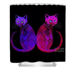 Shower Curtain featuring the digital art Tribal Cats by Nick Gustafson