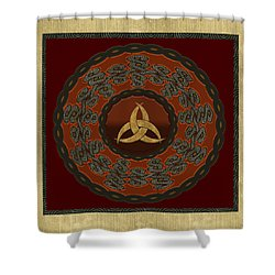 Shower Curtain featuring the painting Tribal Celt Triquetra Symbol by Kandy Hurley