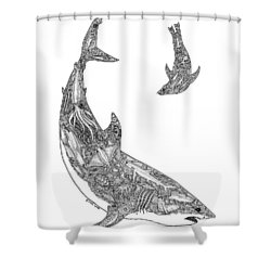 Tribal Great White And Sea Lion Shower Curtain by Carol Lynne
